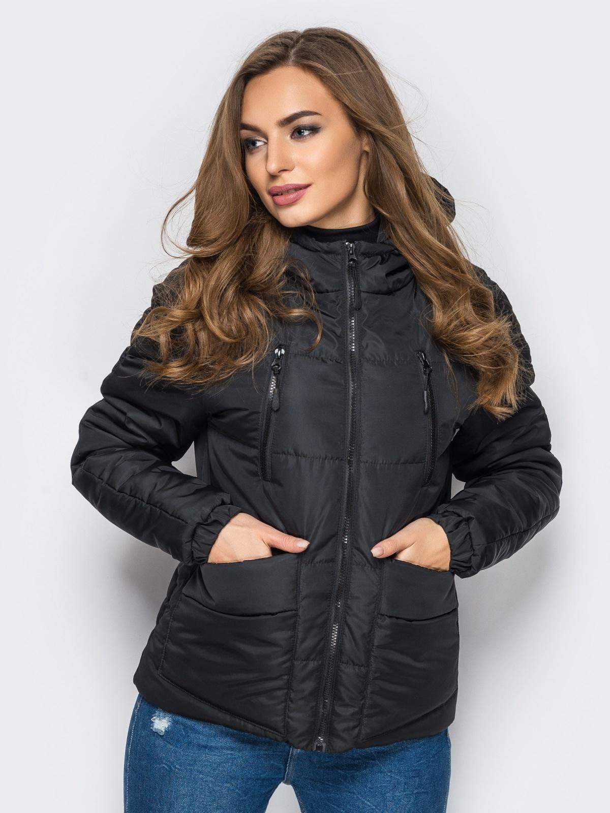 Куртка с капюшоном и накладными карманами черная - 12963, фото 1 – интернет-магазин Dressa