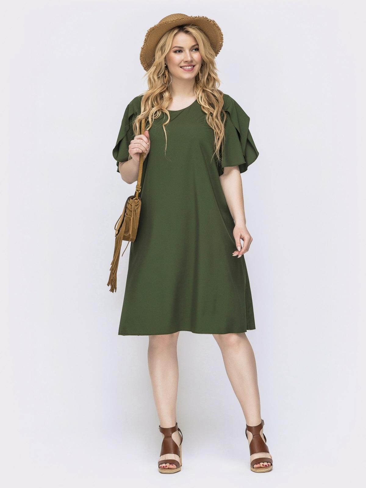 Платье-трапеция большого размера с воланом на рукавах хаки - 46138, фото 1 – интернет-магазин Dressa