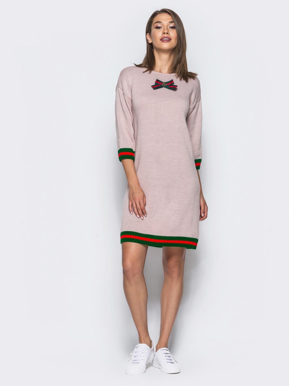 Розовое шерстяное платье прямого кроя с рукавом / - 15920, фото 1 – интернет-магазин Dressa