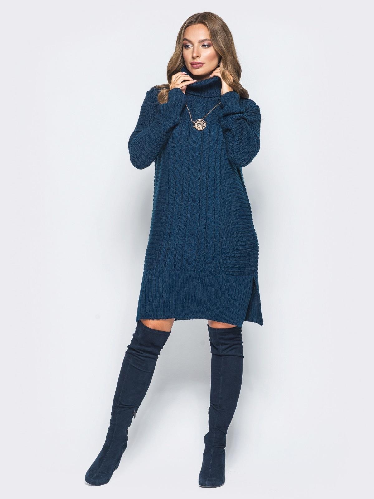 Тёмно-синее вязаное платье с высоким воротником - 15921, фото 1 – интернет-магазин Dressa