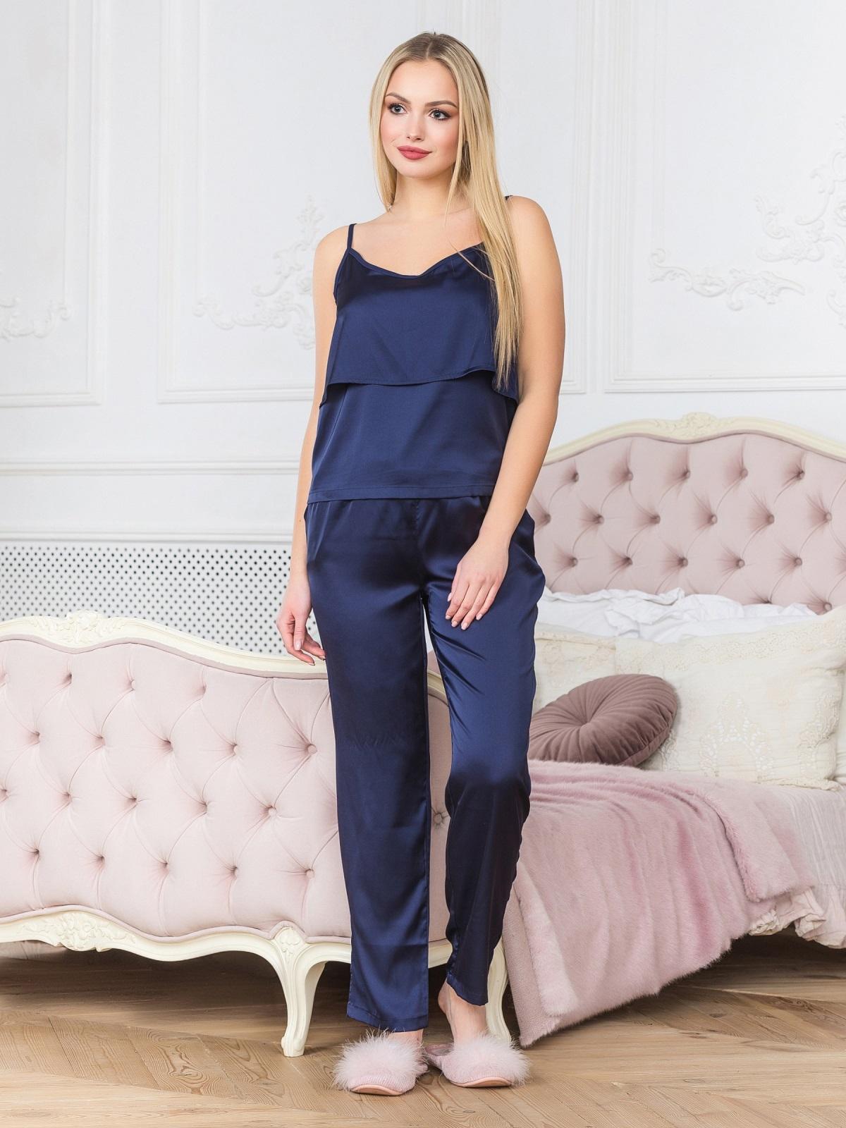 Синяя пижама с воланом на топе и брюками - 18932, фото 1 – интернет-магазин Dressa