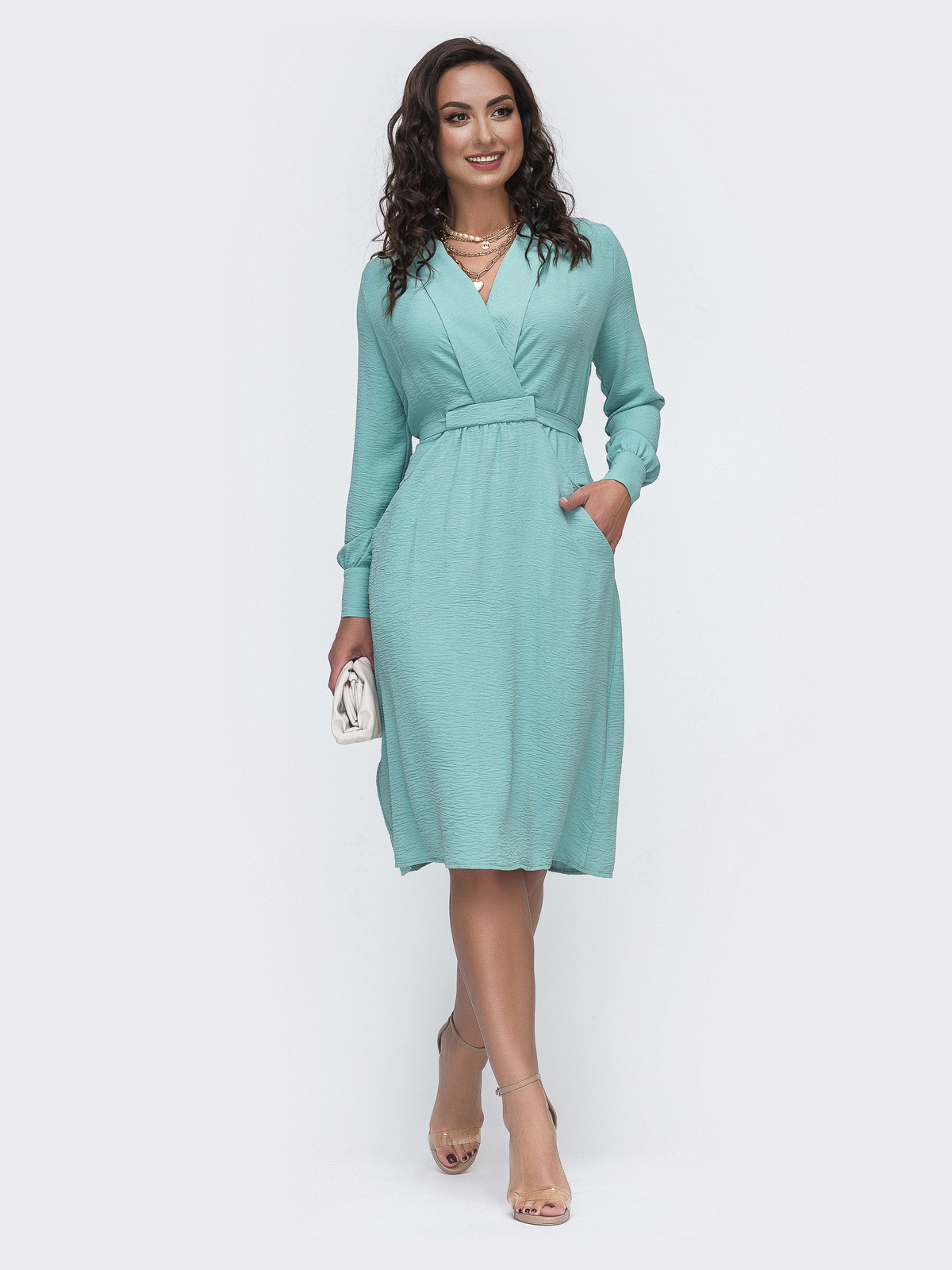 Мятное платье батал с отложным воротником и карманами 49980, фото 1