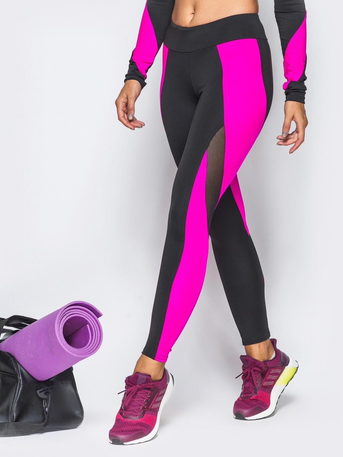 Спортивные лосины с розовыми вставками и эластичной сеткой - 17187, фото 1 – интернет-магазин Dressa