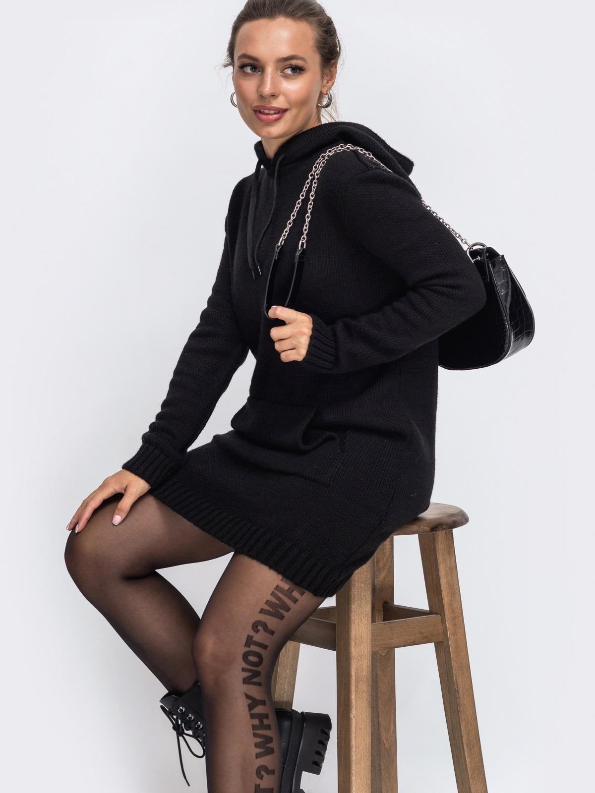 Черная вязаная туника с капюшоном и карманом спереди 50402, фото 1