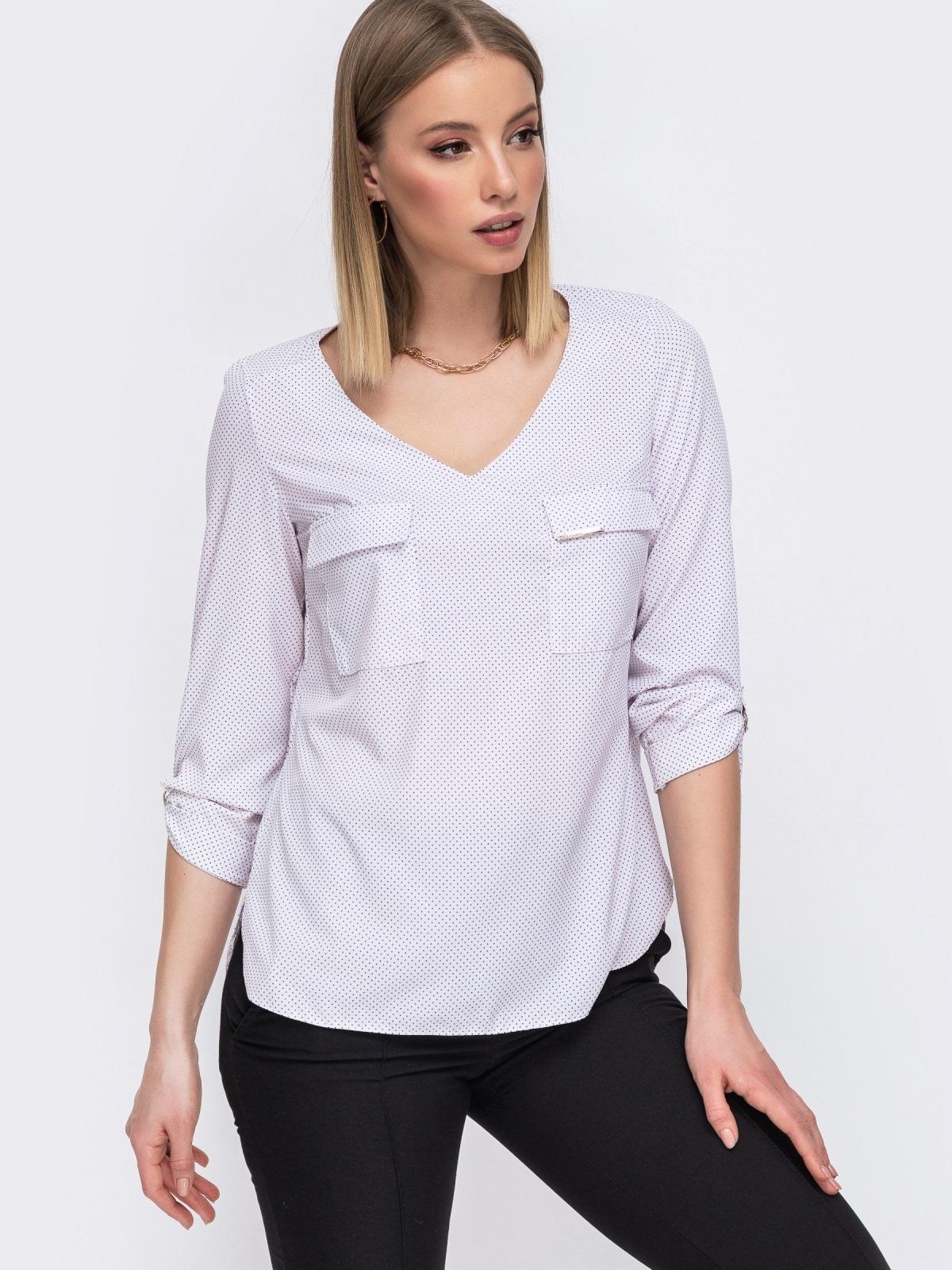 Молочная блузка с V-вырезом и накладными карманами 45577, фото 1