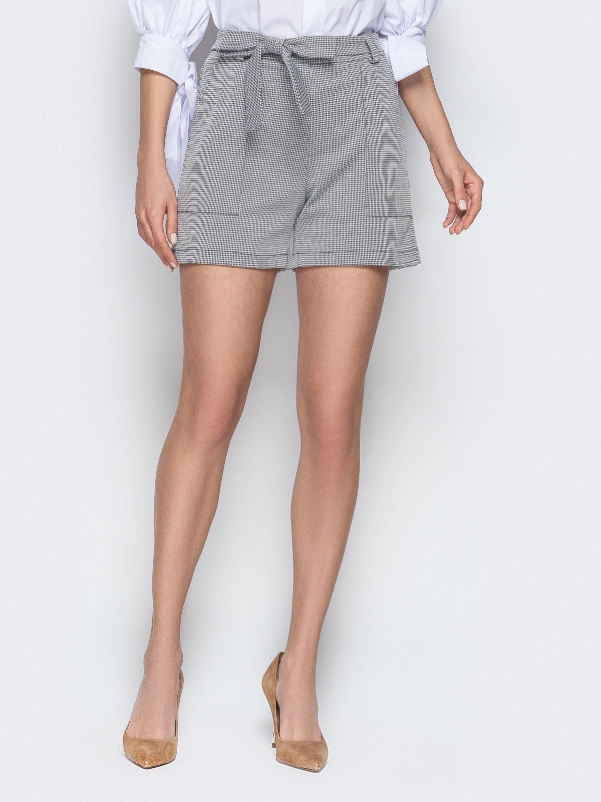 Серые шорты с накладными карманами и поясом 20644, фото 1