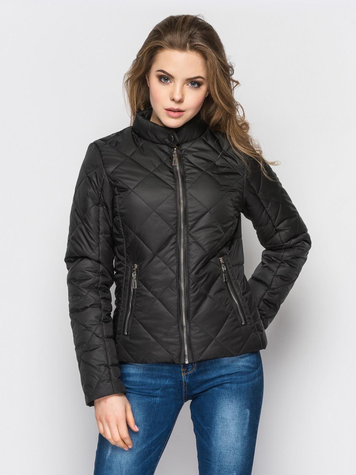 Черная куртка с воротником на кнопке 12937, фото 1