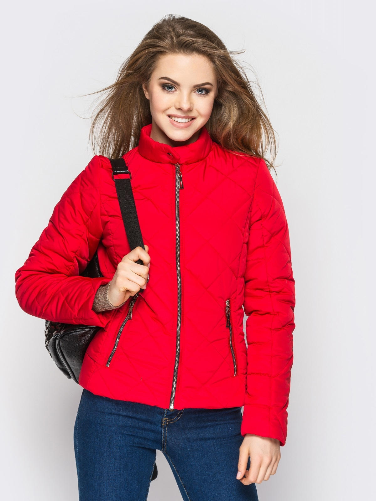 Красная куртка с воротником на кнопке - 12934, фото 1 – интернет-магазин Dressa