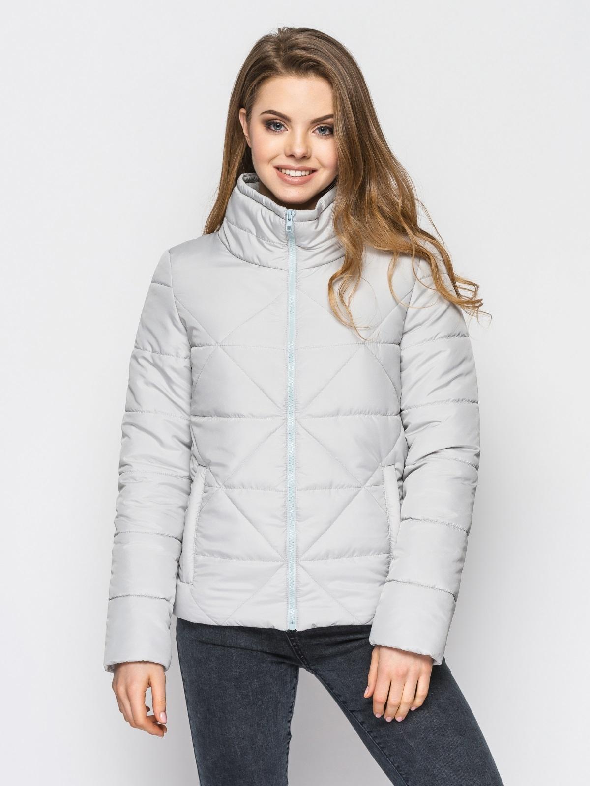 Серая куртка на силиконе с высоким воротником - 12932, фото 1 – интернет-магазин Dressa