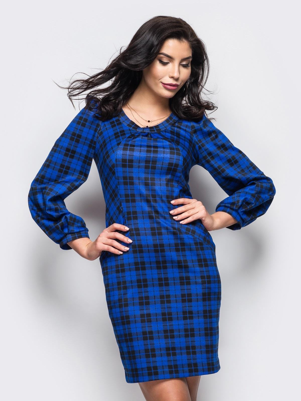 синее платье с удобными карманами на полочке 35563, фото 1