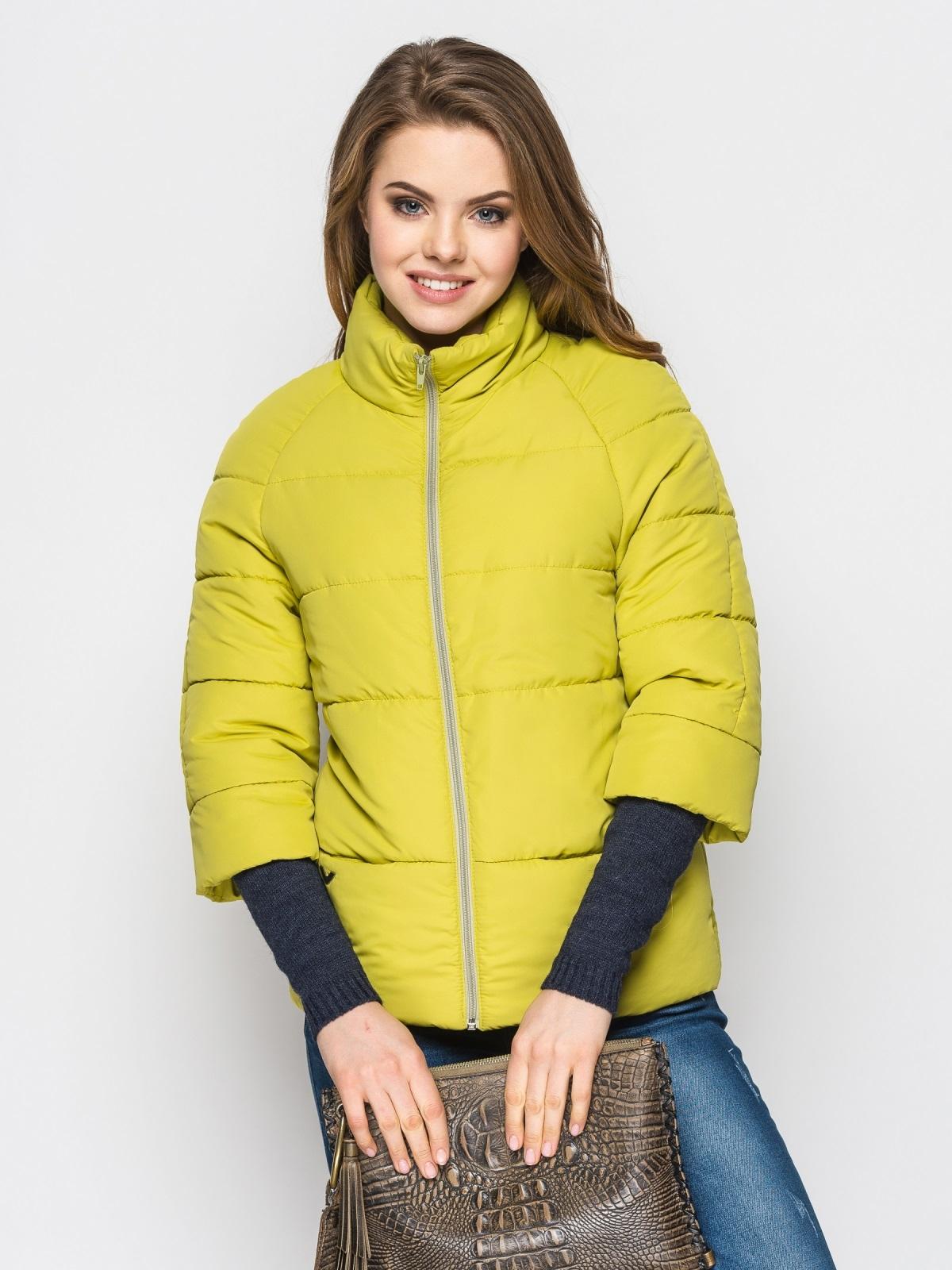 Желто-зелёная куртка на силиконе с рукавом 3/4 - 12954, фото 1 – интернет-магазин Dressa