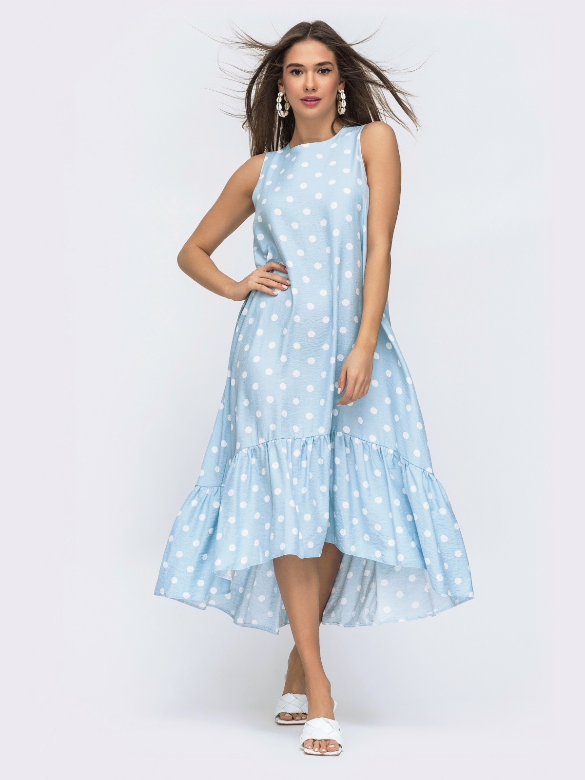 Голубое платье в горох с широкой оборкой по низу 48293, фото 1