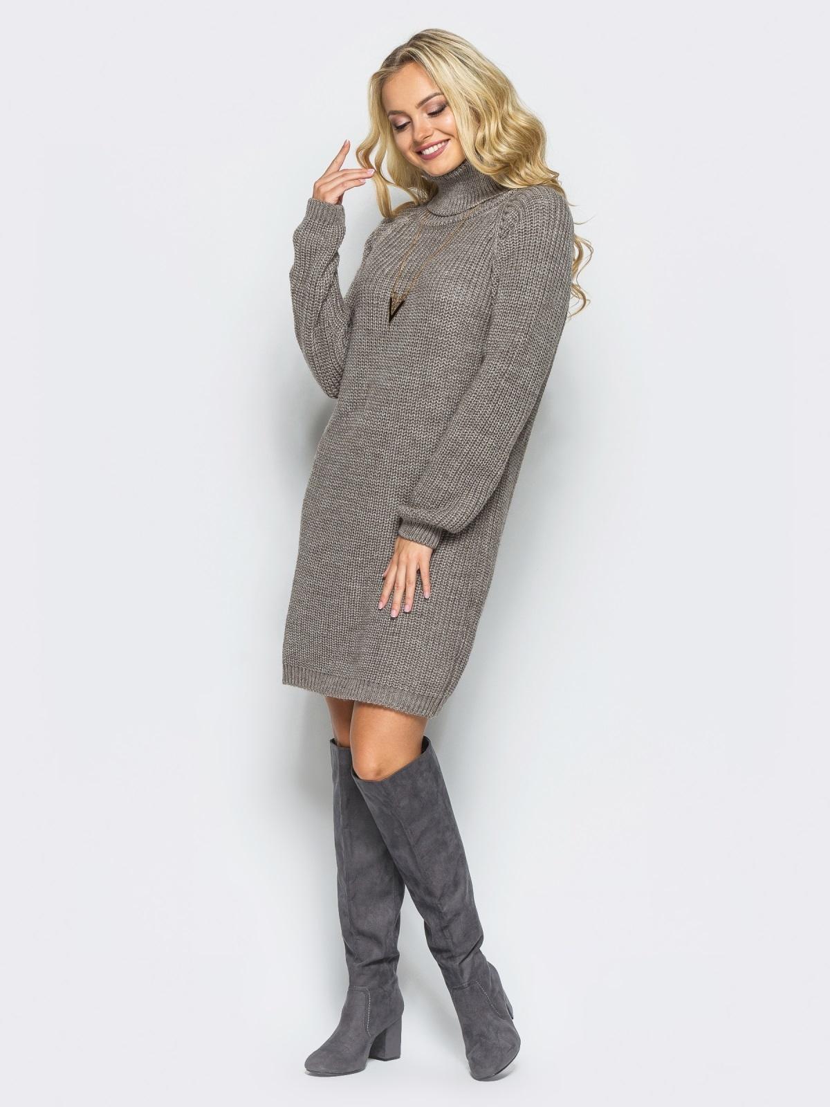 Вязаное платье на резинке с высоким воротником бежевое - 15930, фото 1 – интернет-магазин Dressa