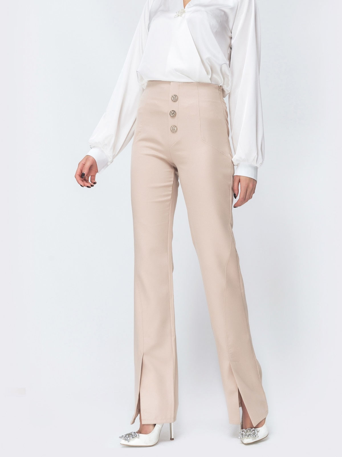 Бежевые брюки-клёш с разрезами по низу - 44118, фото 1 – интернет-магазин Dressa