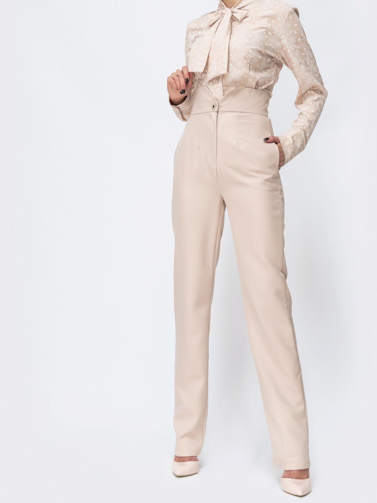 Бежевые брюки прямого кроя с высокой посадкой - 44115, фото 1 – интернет-магазин Dressa