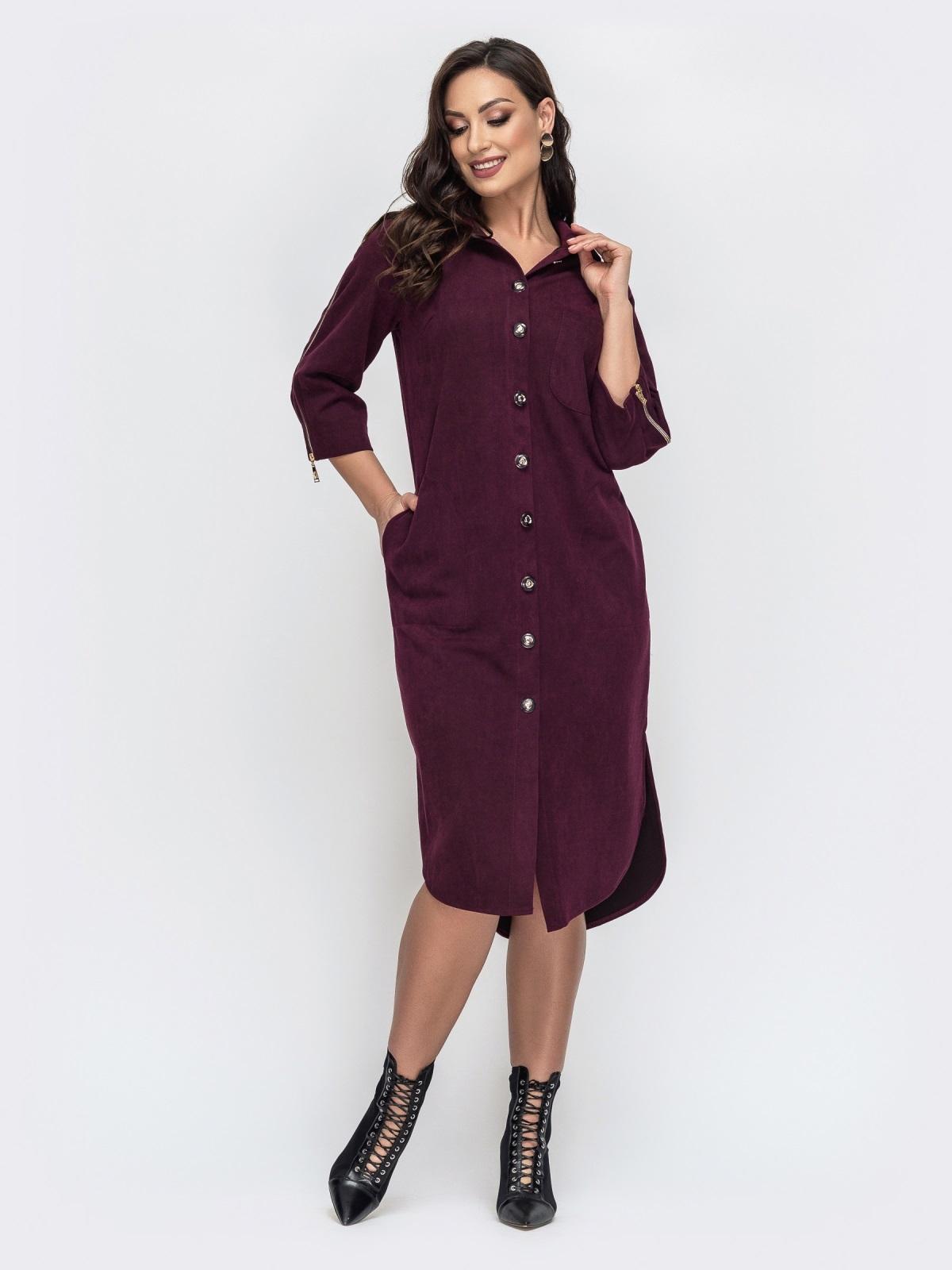 Бордовое платье большого размера из искусственной замши 44120, фото 1