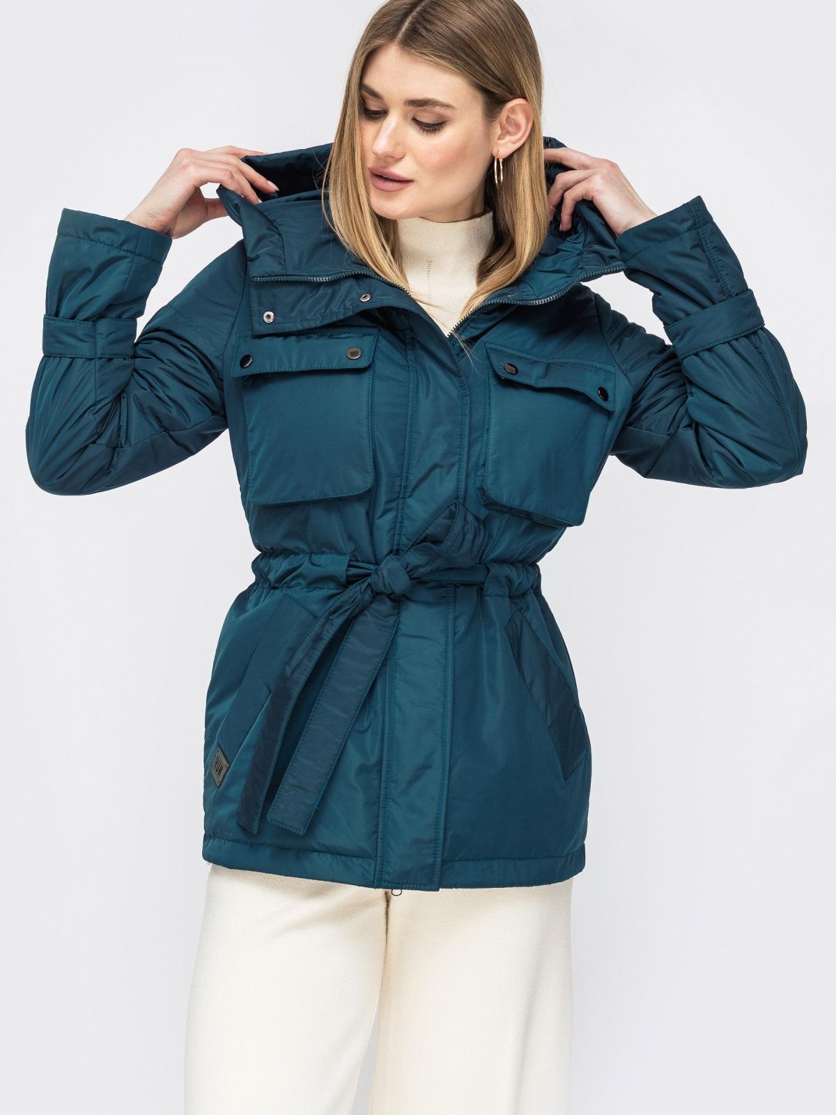 Демисезонная куртка с кулиской по талии тёмно-синяя - 45169, фото 1 – интернет-магазин Dressa