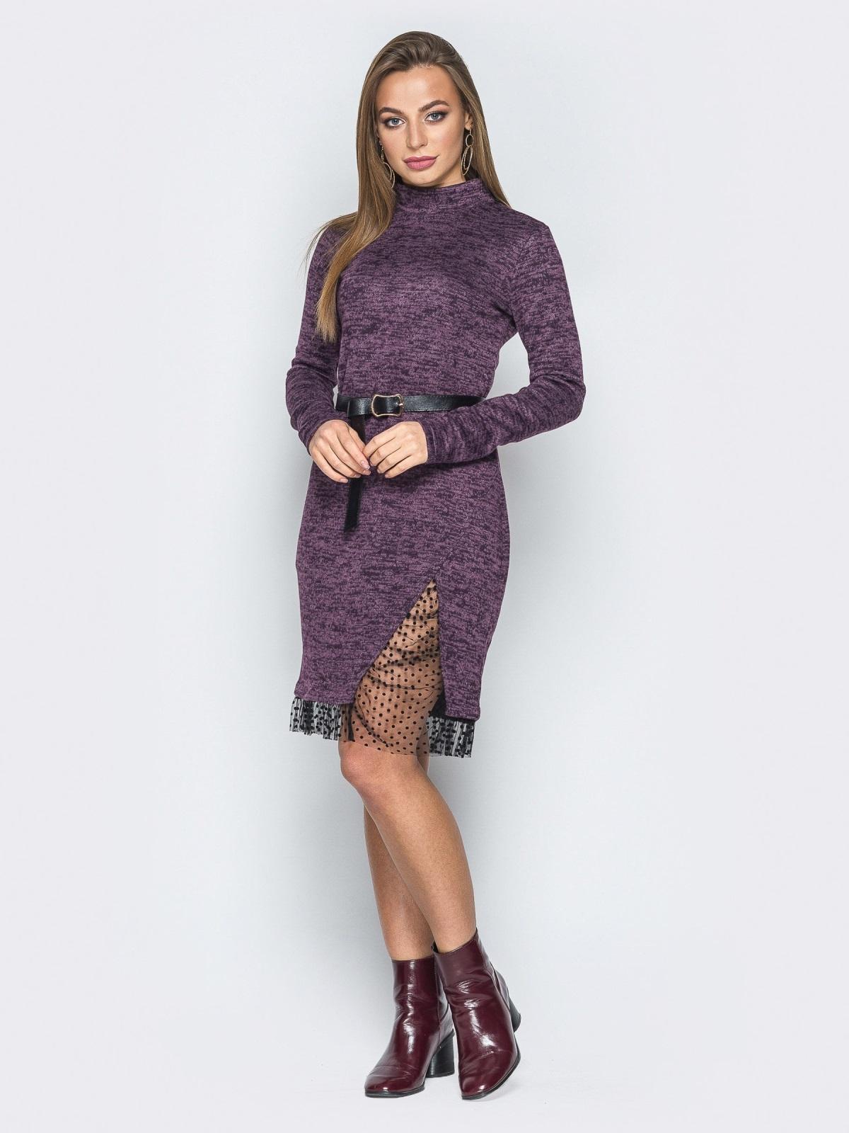 Фиолетовое платье со вставкой из фатина и воротником-стойкой - 19261, фото 1 – интернет-магазин Dressa