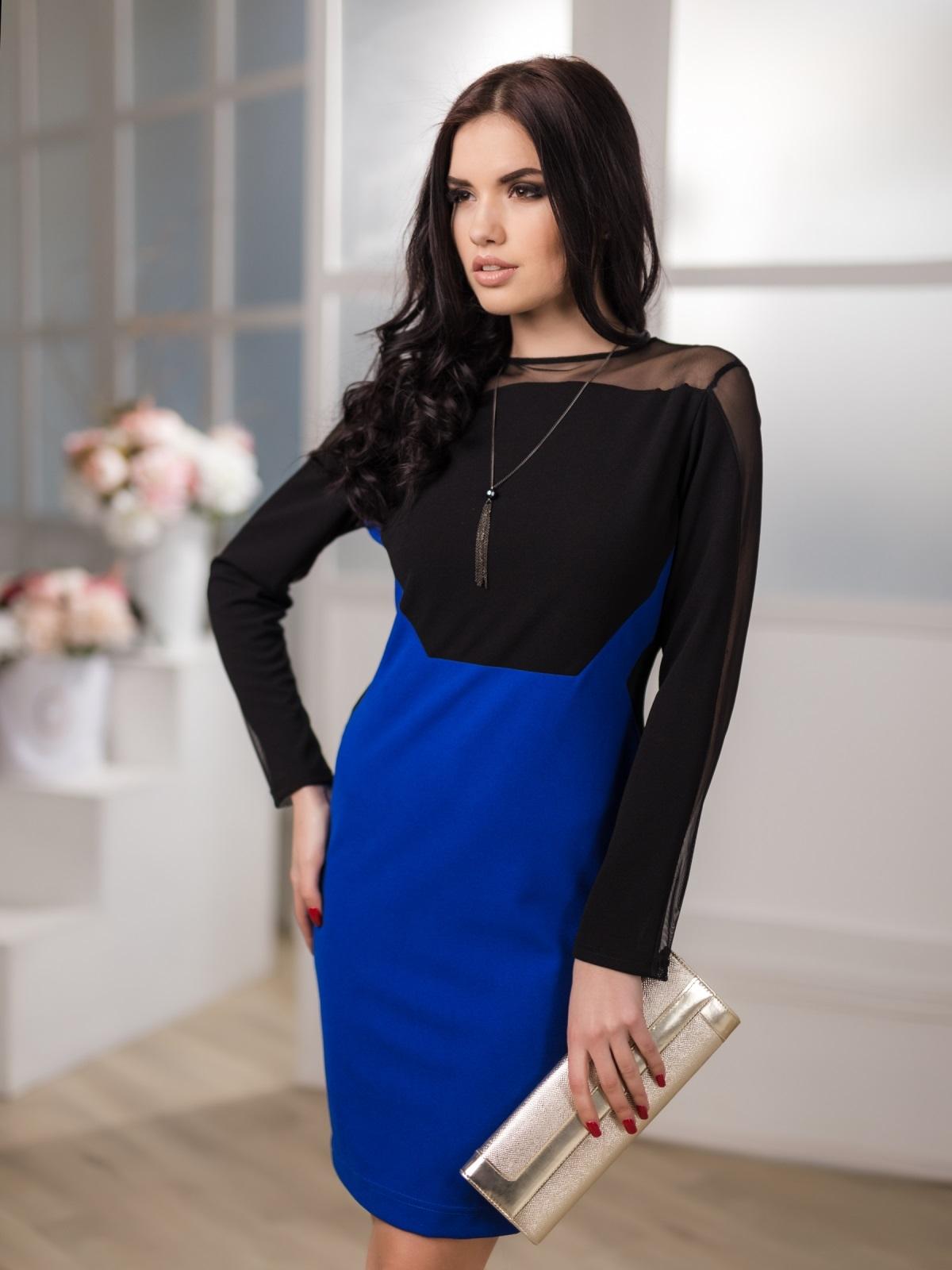 Платье-футляр со стрейчевой сеткой на кокетке и рукавах - 12660, фото 1 – интернет-магазин Dressa
