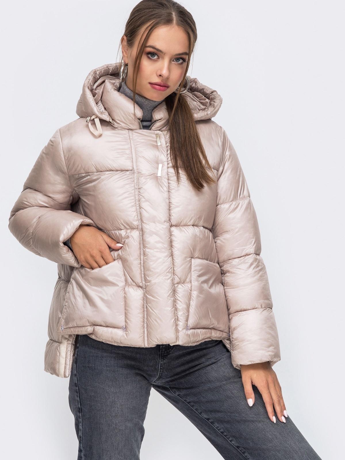 Зимняя куртка с воротником-стойкой и капюшоном пудровая 50220, фото 1