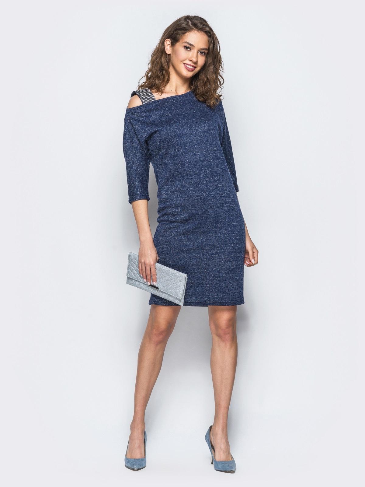 Платье тёмно-синего цвета на одно плечо с бретелью - 18048, фото 1 – интернет-магазин Dressa