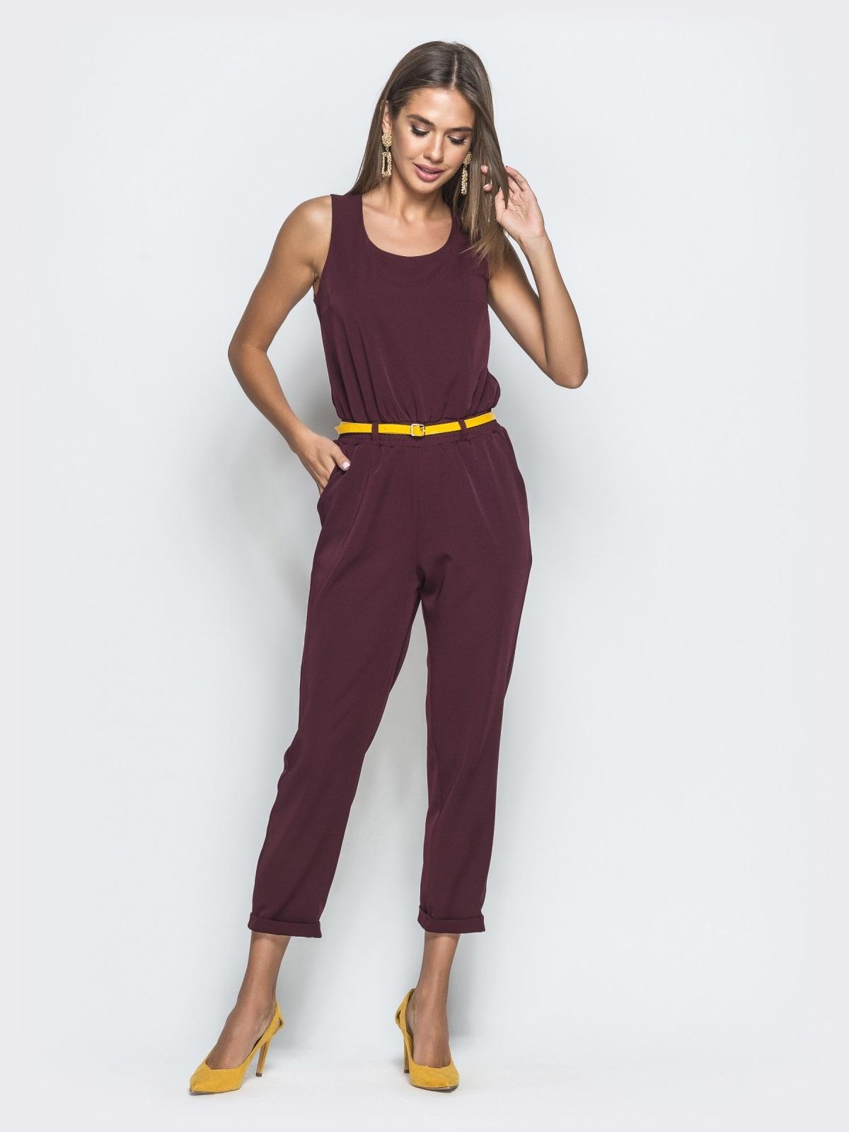 Комбинезон бордового цвета с укороченными брюками 39786, фото 1