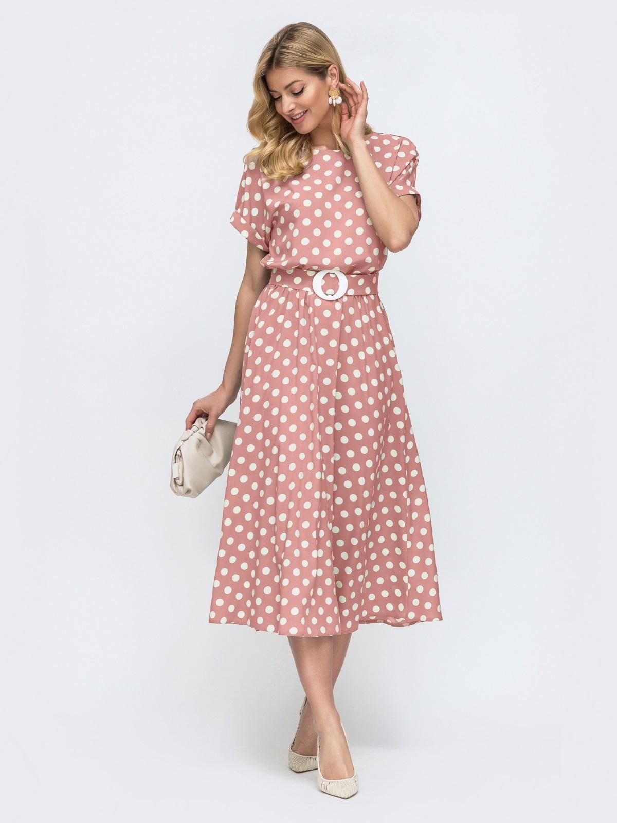 Платье в горох с расклешенной юбкой розовое 49736, фото 1