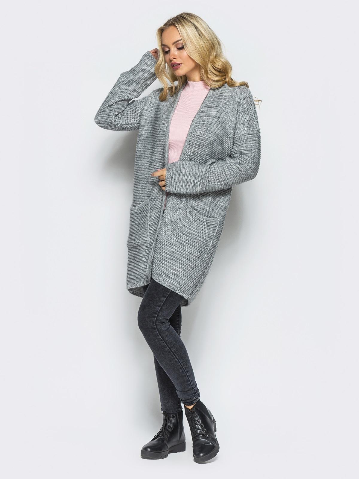 Серый вязаный кардиган с карманами на полочке - 15885, фото 1 – интернет-магазин Dressa