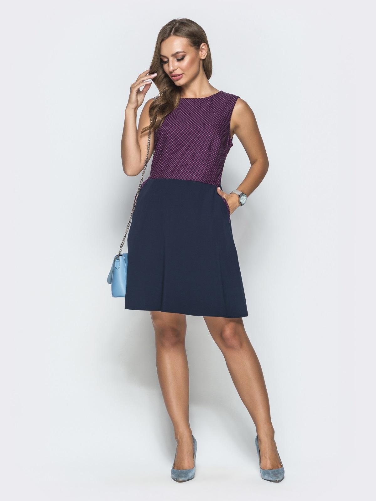Тёмно-синее платье в розовую клетку с юбкой-трапецией 39790, фото 1