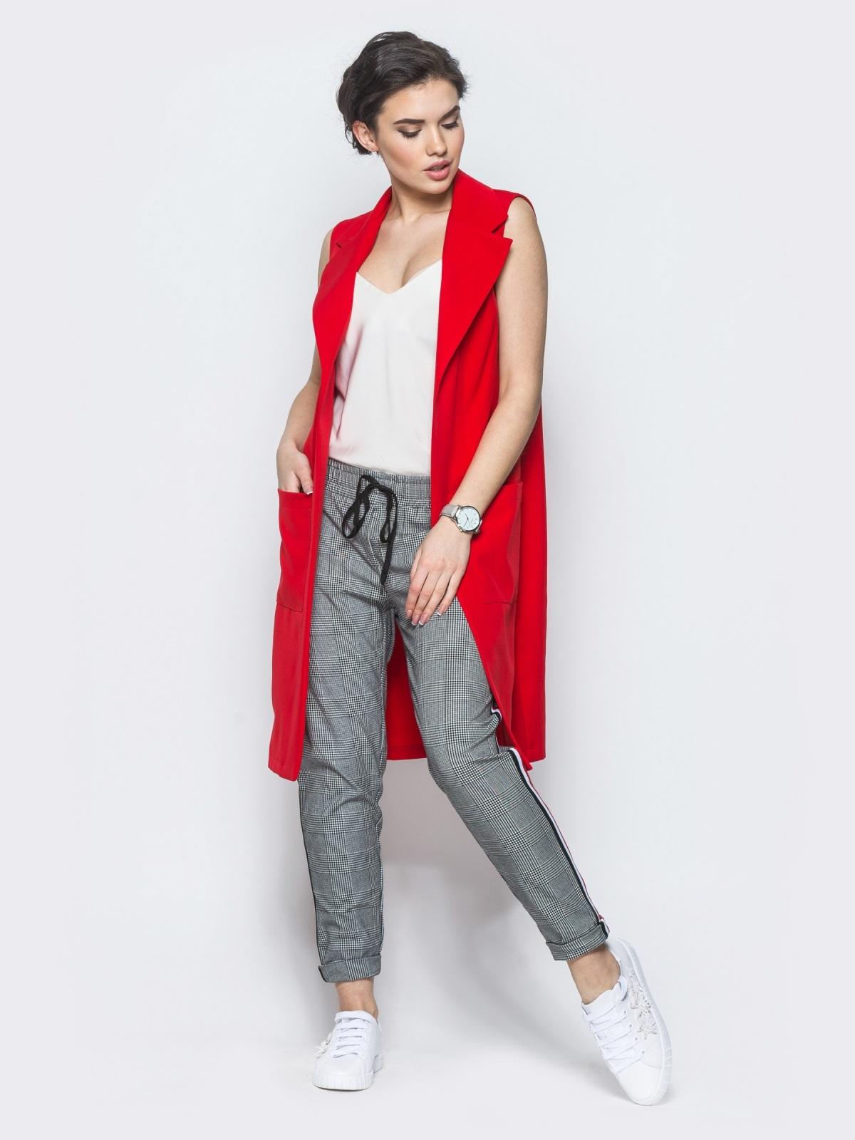 Длинный жакет с накладными карманами красный - 12835, фото 1 – интернет-магазин Dressa