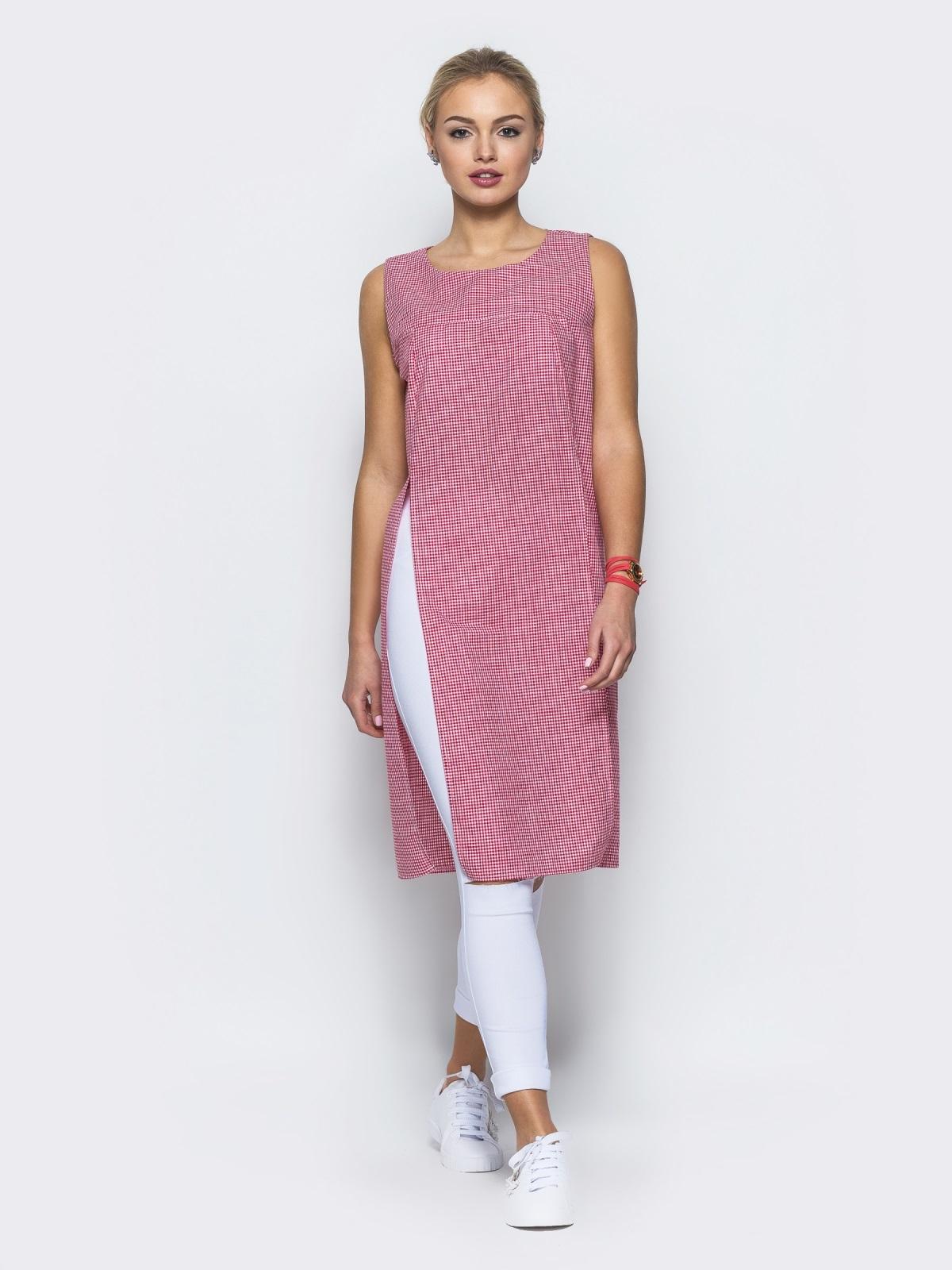 Туника в клетку виши с высокими разрезами на полочке розовая - 13185, фото 2 – интернет-магазин Dressa