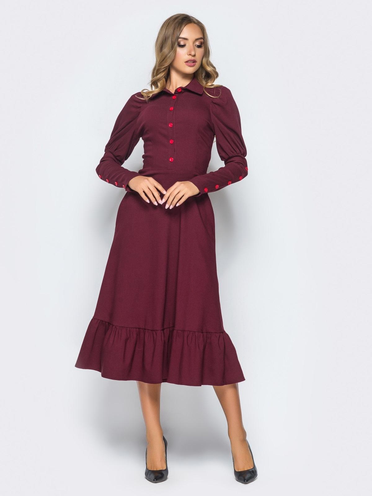 Бордовое платье с оборкой по низу и рукавом-фонариком - 15688, фото 1 – интернет-магазин Dressa