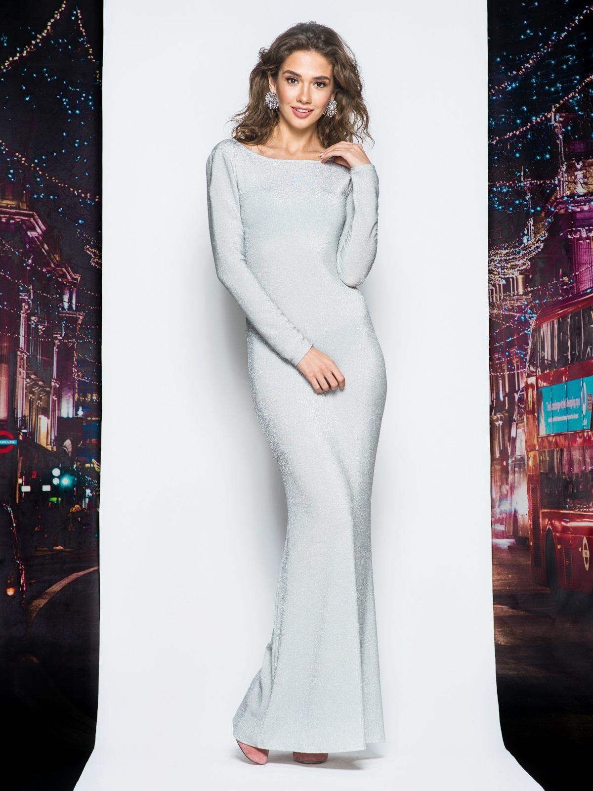 Платье в пол серого цвета из люрекса - 18000, фото 1 – интернет-магазин Dressa