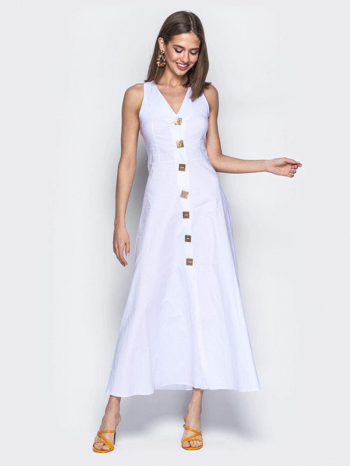 Приталенное платье-макси с квадратными пуговицами белое - 21707, фото 1 – интернет-магазин Dressa