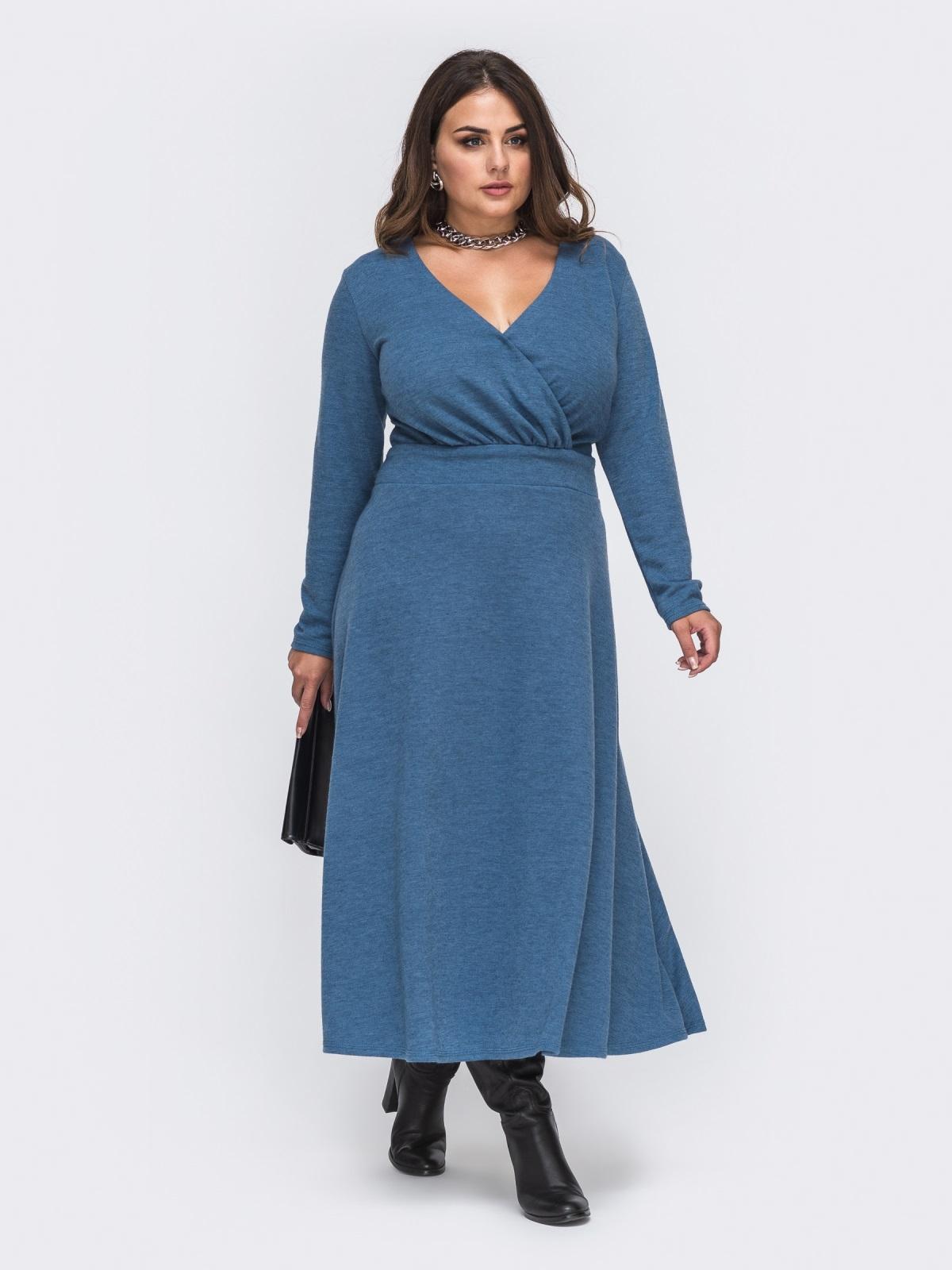 Длинное платье большого размера из трикотажа синее 50991, фото 1