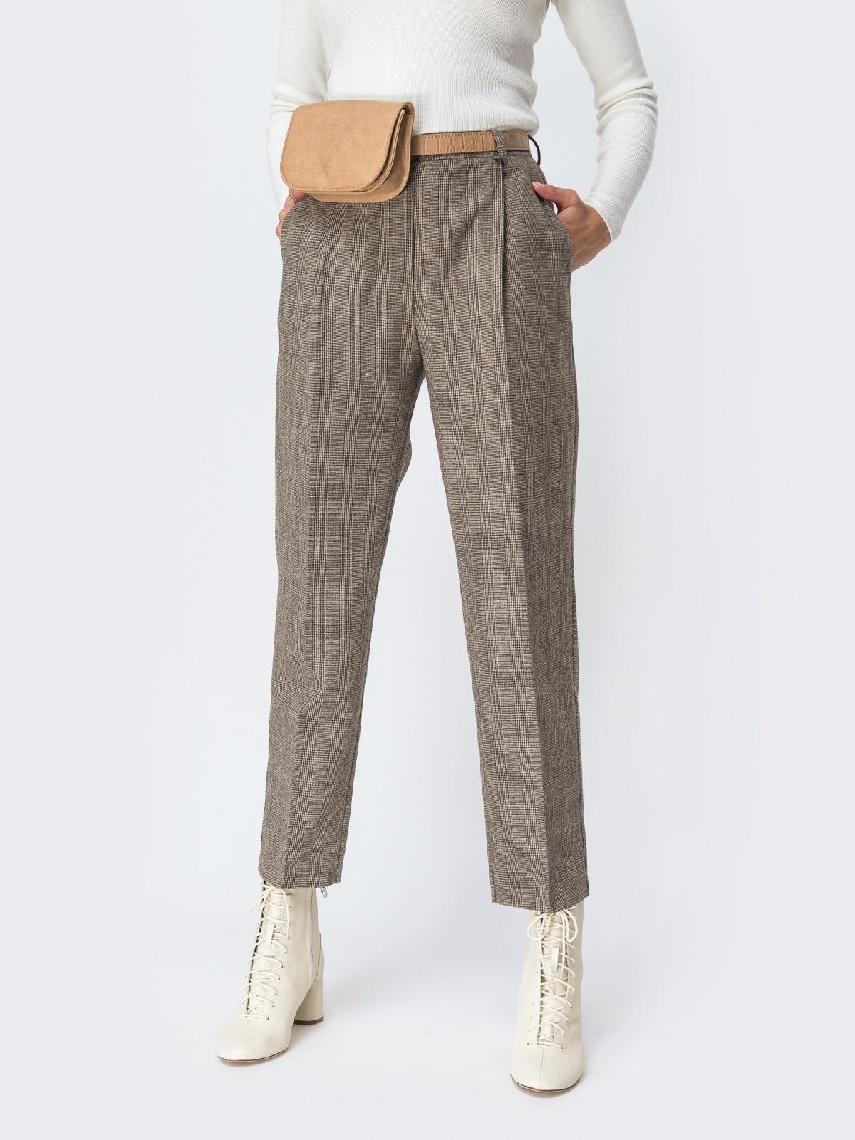 Широкие брюки в клетку с завышенной талией бежевые - 42427, фото 1 – интернет-магазин Dressa