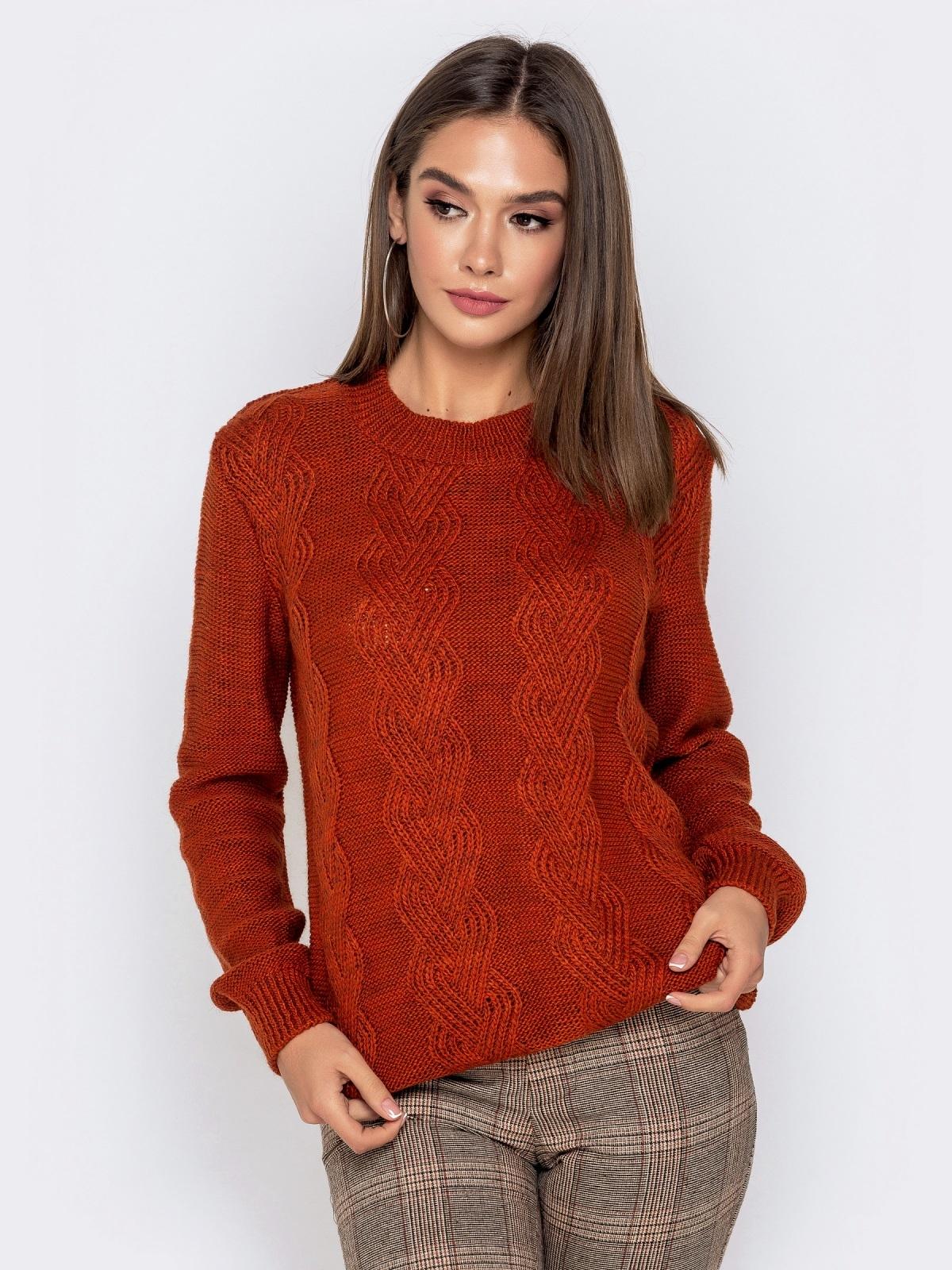 Ажурный свитер с резинкой на манжетах терракотовый - 41173, фото 1 – интернет-магазин Dressa