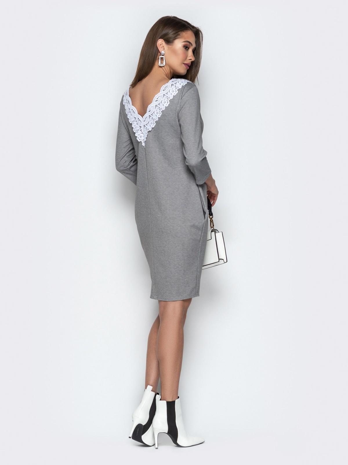Серое платье свободного кроя с карманами - 20335, фото 1 – интернет-магазин Dressa