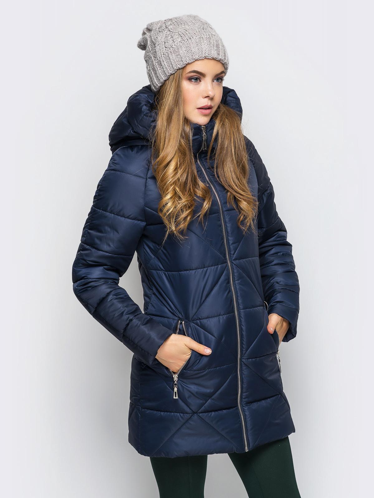 Тёмно-синяя зимняя куртка с застёжкой на молнии 15238, фото 1