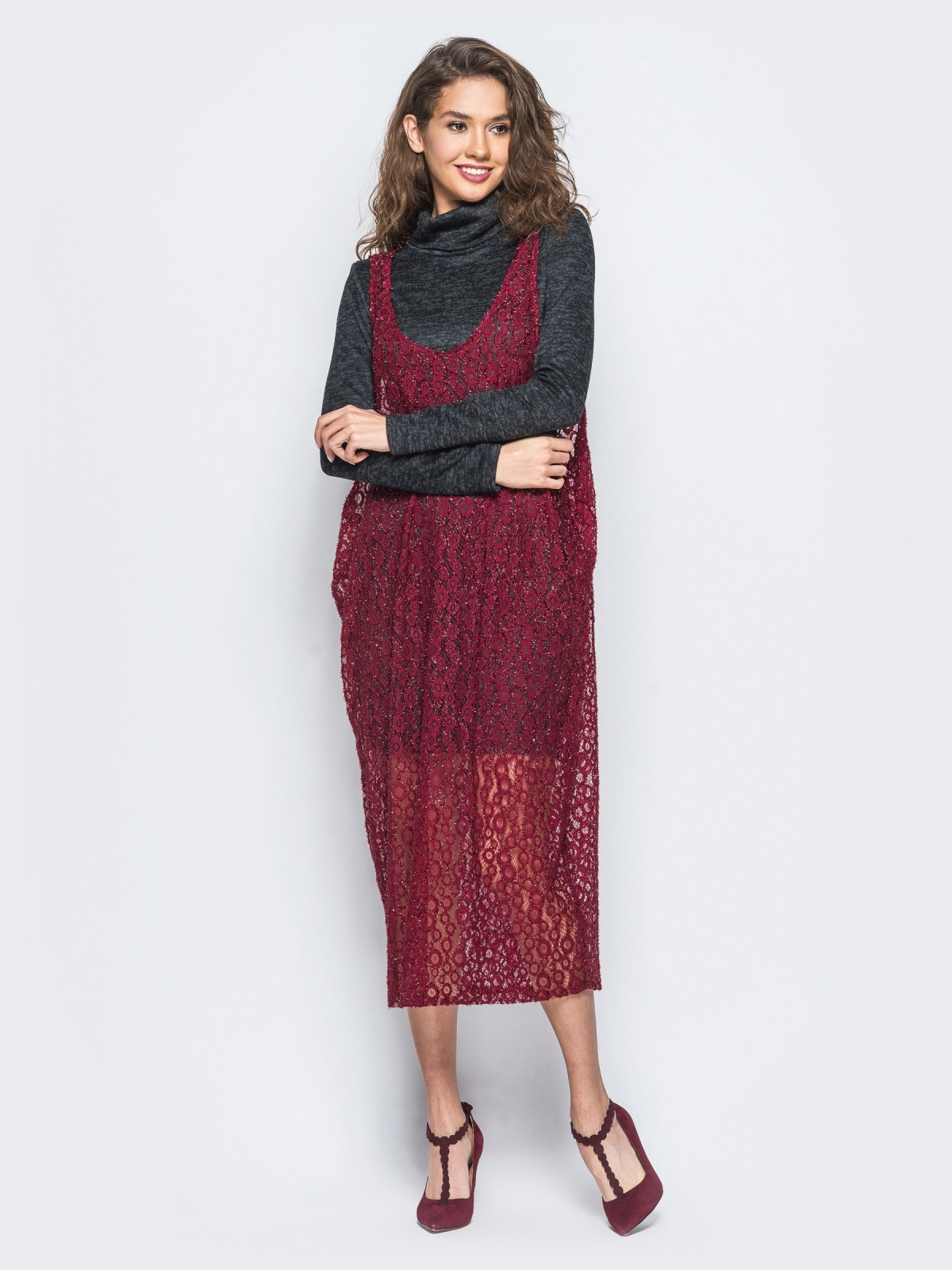 Комплект с сарафаном из гипюра бордового цвета - 17936, фото 1 – интернет-магазин Dressa