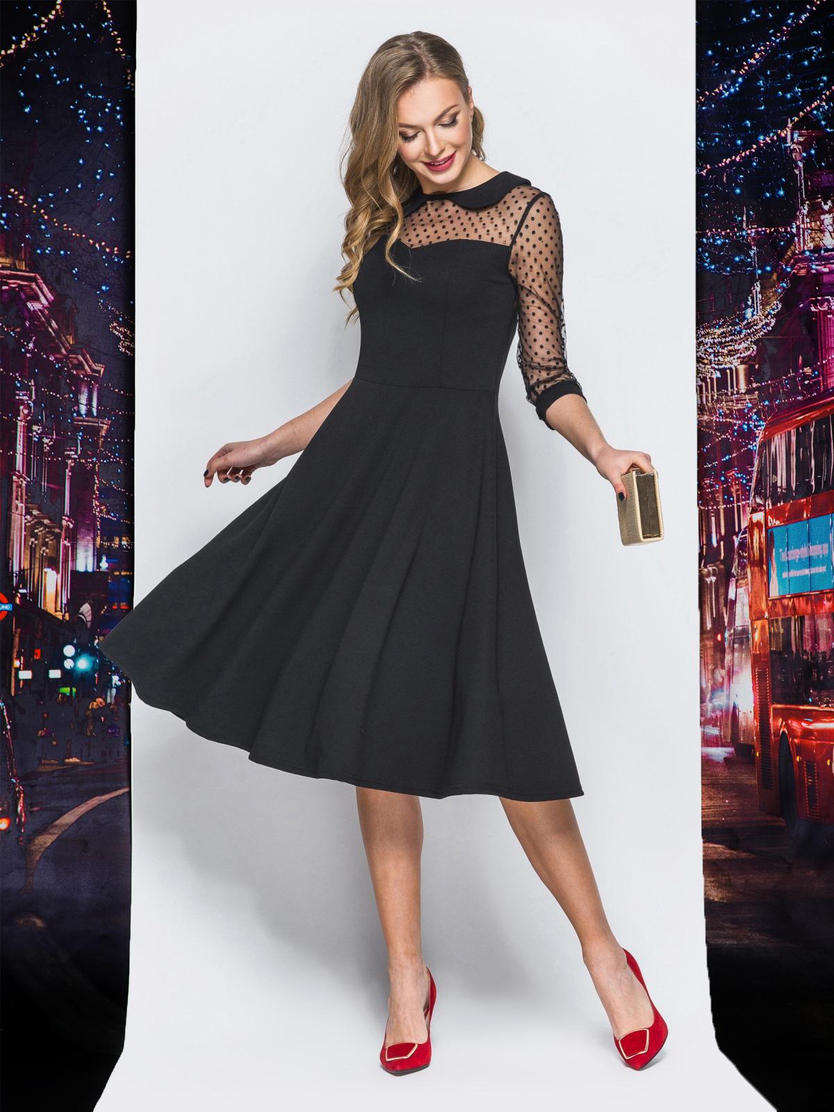 Платье с расклешенной юбкой и кокеткой из фатина черное - 18195, фото 1 – интернет-магазин Dressa