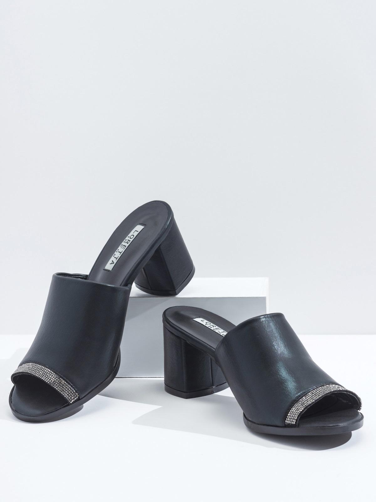 Чёрные босонжки-сабо из искусственной кожи 45994, фото 1