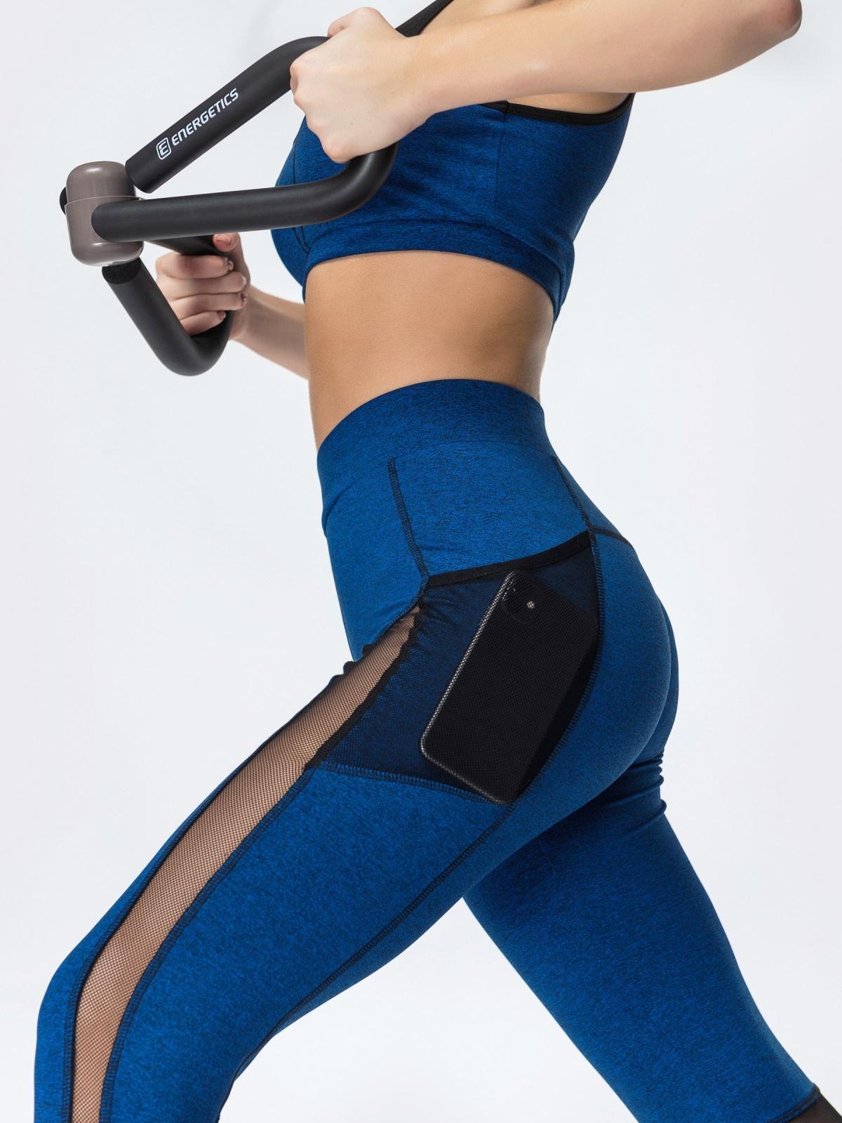 Спортивные лосины с эластичной сеткой синие 44620, фото 1