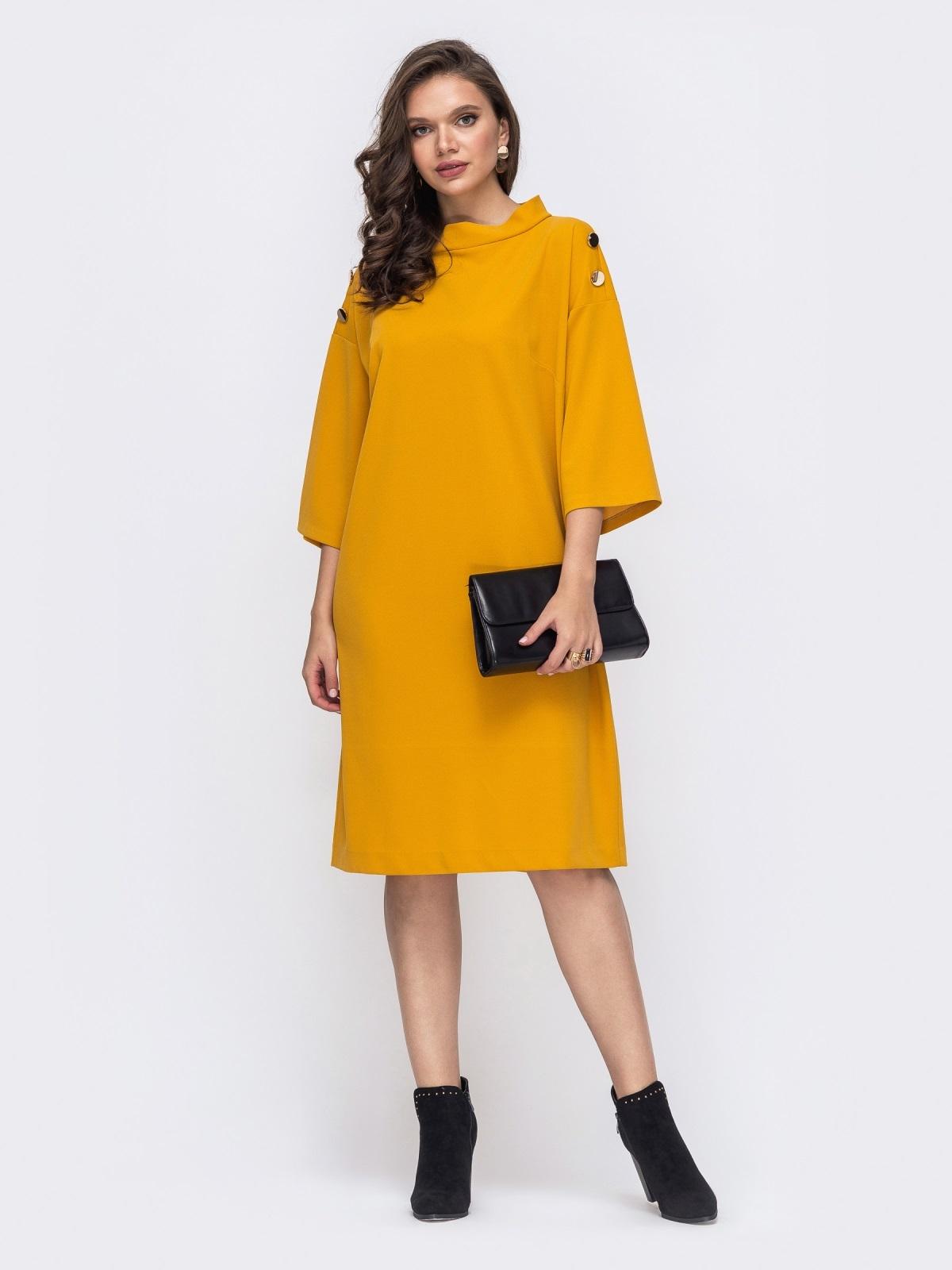 Свободное платье-миди большого размера желтое 51523, фото 1