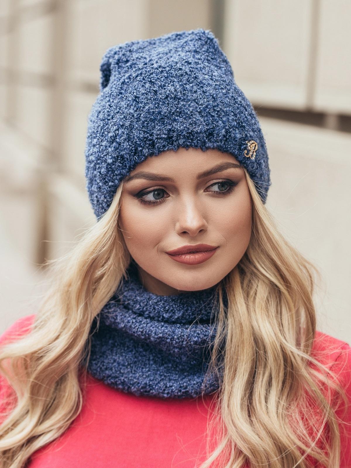 Комплект из хомута и шапки с нитью букле синий - 15512, фото 3 – интернет-магазин Dressa