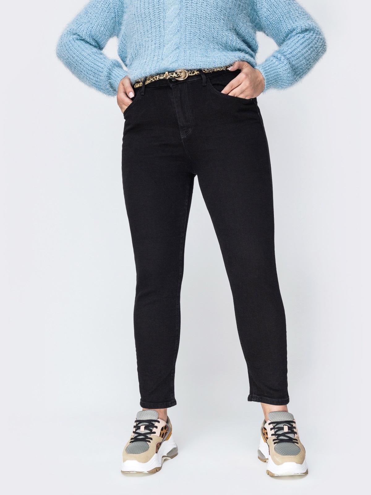 Осенние джинсы чёрного цвета с завышенной талией - 42453, фото 1 – интернет-магазин Dressa