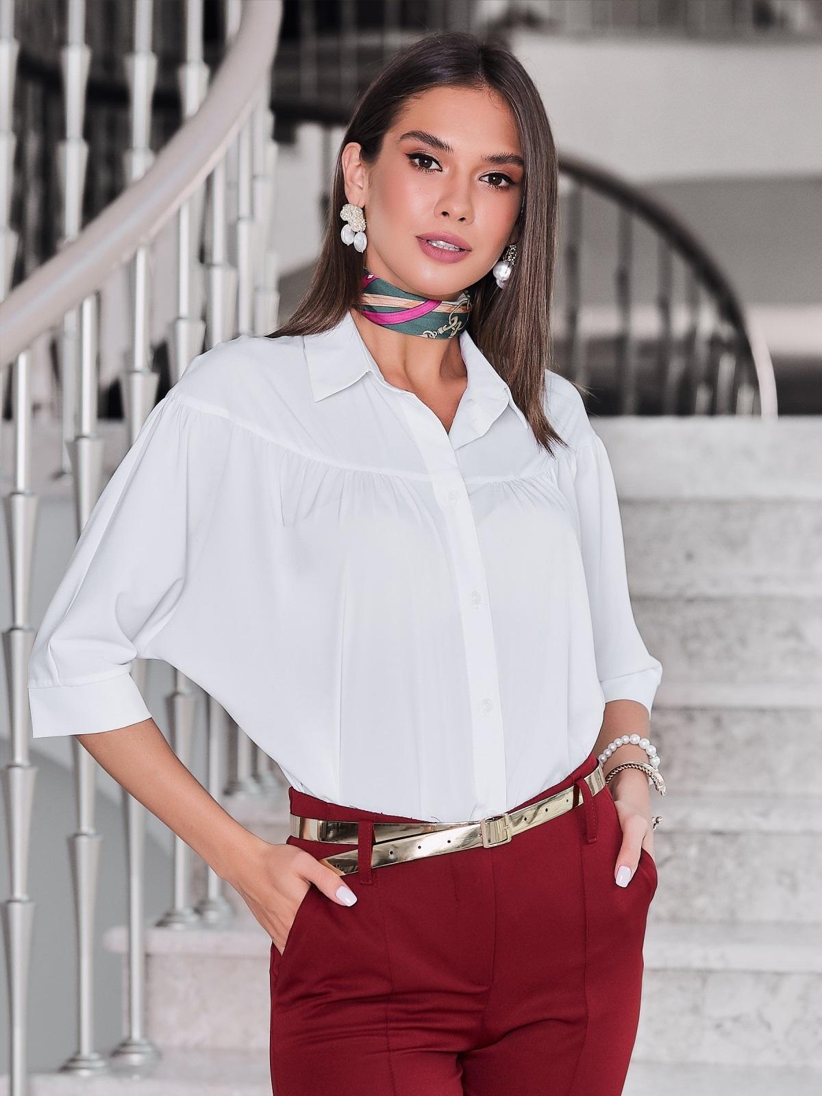 Белая блузка свободного кроя - 40081, фото 1 – интернет-магазин Dressa
