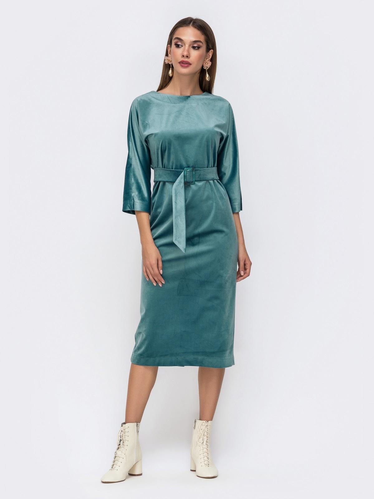 Платье из бархата с пуговицами по спинке бирюзовое - 41756, фото 1 – интернет-магазин Dressa