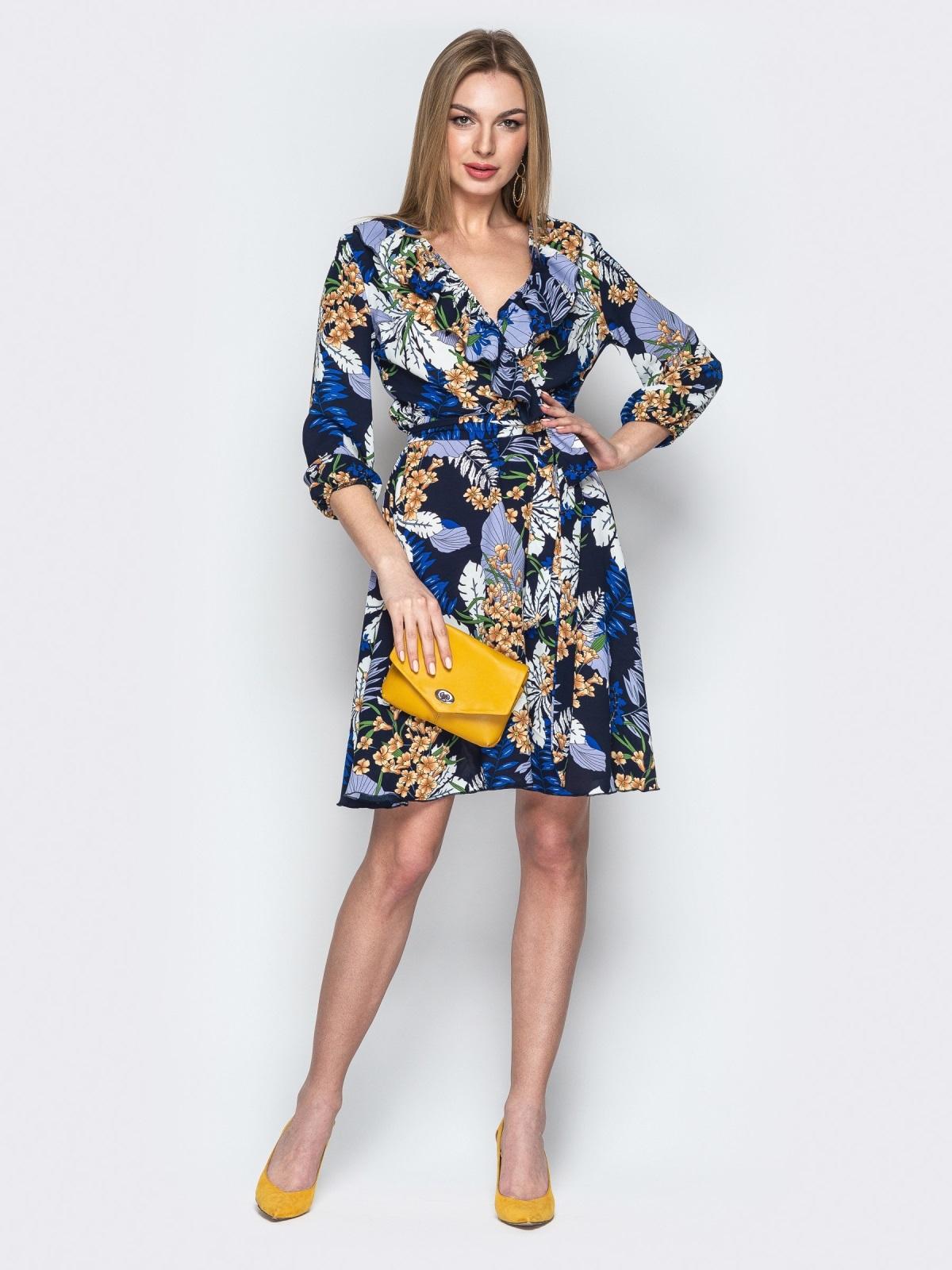 Принтованное платье синего цвета с фиксированным запахом 21761, фото 1