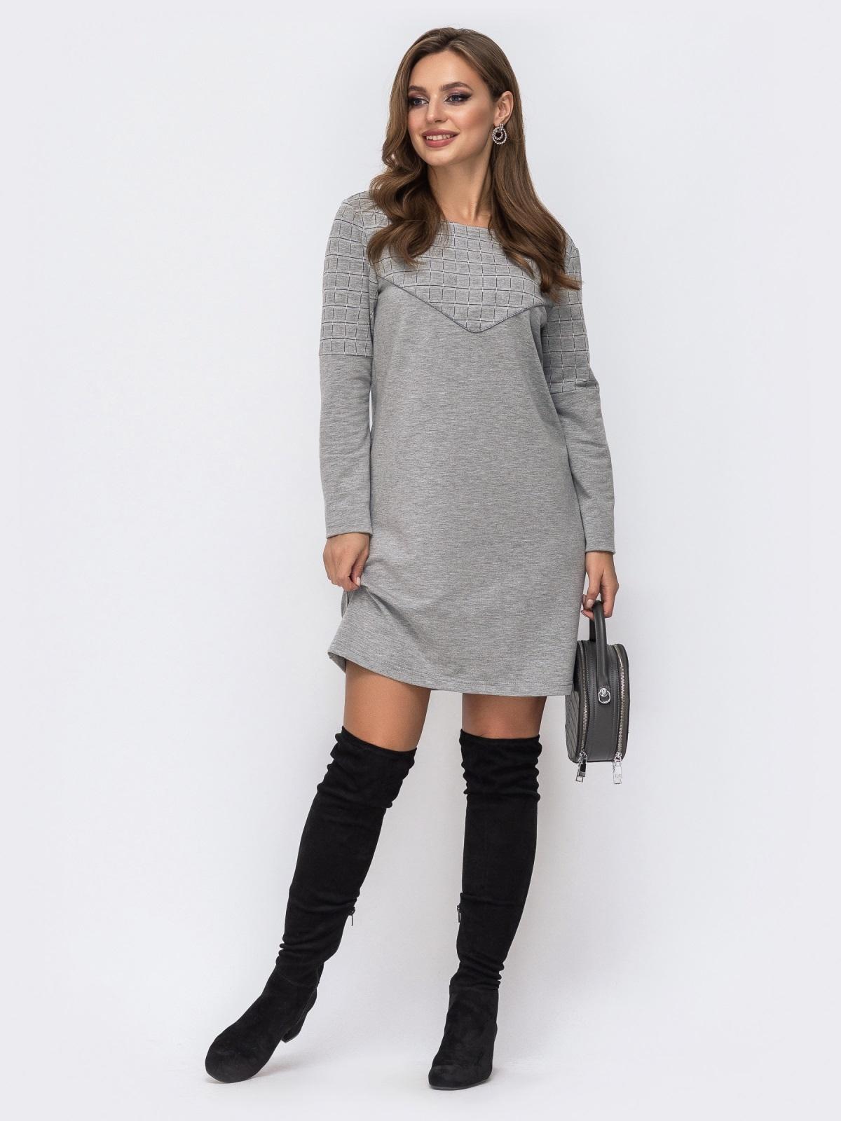 Платье из двунитки с контрастной кокеткой серое 42968, фото 1